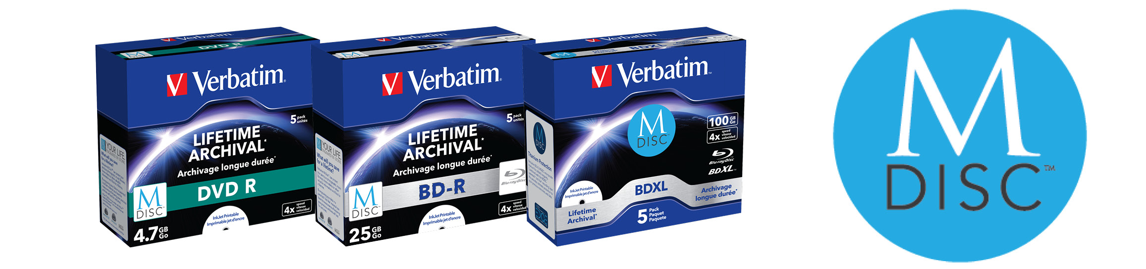Verbatim MDISC Lifetime archival BDXL 100GB* - 5 pack jewel case